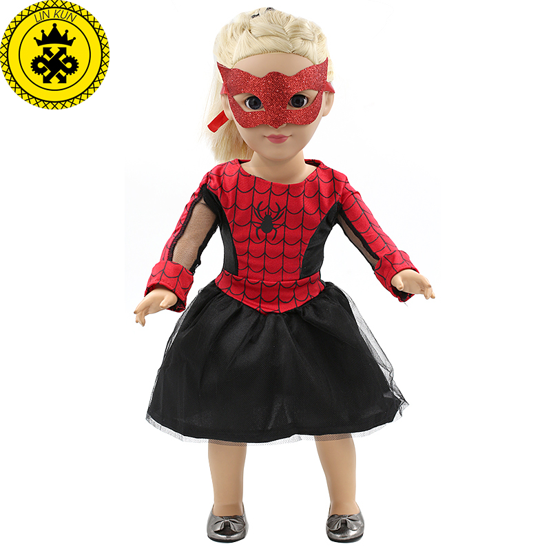 Movie Fans Spiderman Dress Up Mask Sets American Girl Dolls Clothing of 18 inch Doll Party Dress Girls Best Gift MG-139