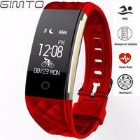 GIMTO Sport Bracelet Smart Watch Women Men Dynamic Heart Rate Monitor Bluetooth Digital Clock Led Waterproof