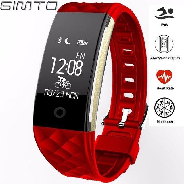 Gimto Спорт Браслет Смарт-часы Для женщин Для мужчин динамического сердечного ритма Мониторы Bluetooth цифровые часы LED Водонепроницаемый SmartWatch Android
