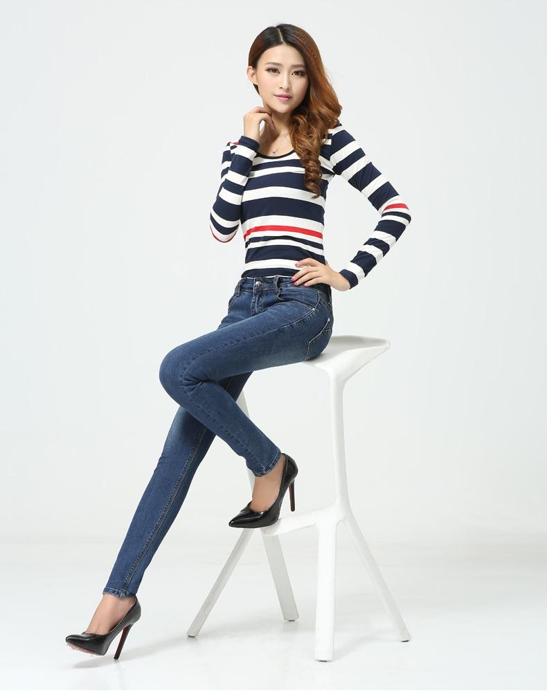 WQJGR Spring And Autumn Outfit Size Women Jeans Waist Slimming Feet Pencil Blue Women Jeans Women Long Pants 15