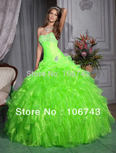 free shipping 2015new sweetheart Greens Organza Layers Quinceanera Ball Gowns Wedding Pageant Formal beading custom Prom Dress