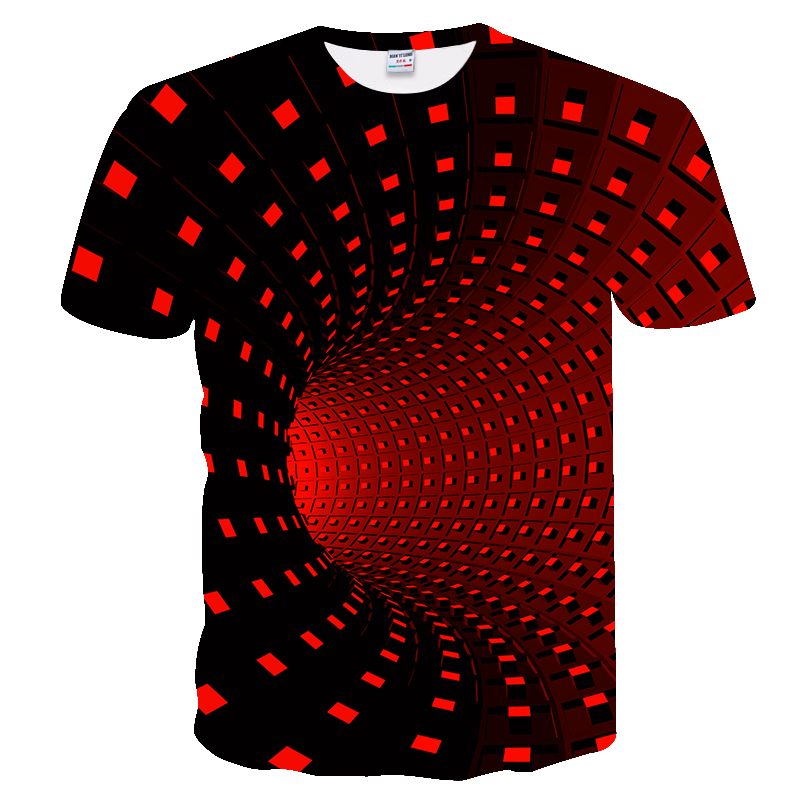 3D Vortex Starry Pattern Printing Men Women Short Sleeve Crew Neck T-shirt Tops