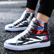 2019 Men High Top Sneakers Bling Platform Flats Shoes Man Silver Fashion Shoes UK Flag Design zapatos de hombre недорого