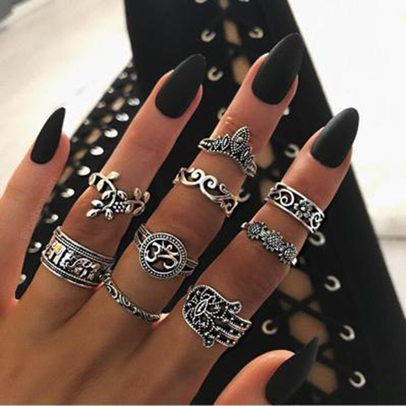 Tocona 9pcs/set Boho Midi Finger Rings Set for Women Punk Elephant Flower Hollow Out Sliver Knuckle Rings Jewelry Gift 4618(China)