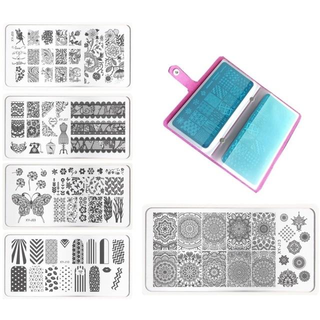 17Pcs/Set Nail Stamping Plates Polish Stencils 1x 20 slots Rose Nails image Plate Folder/CASE and 16x Print Template DIY Tools