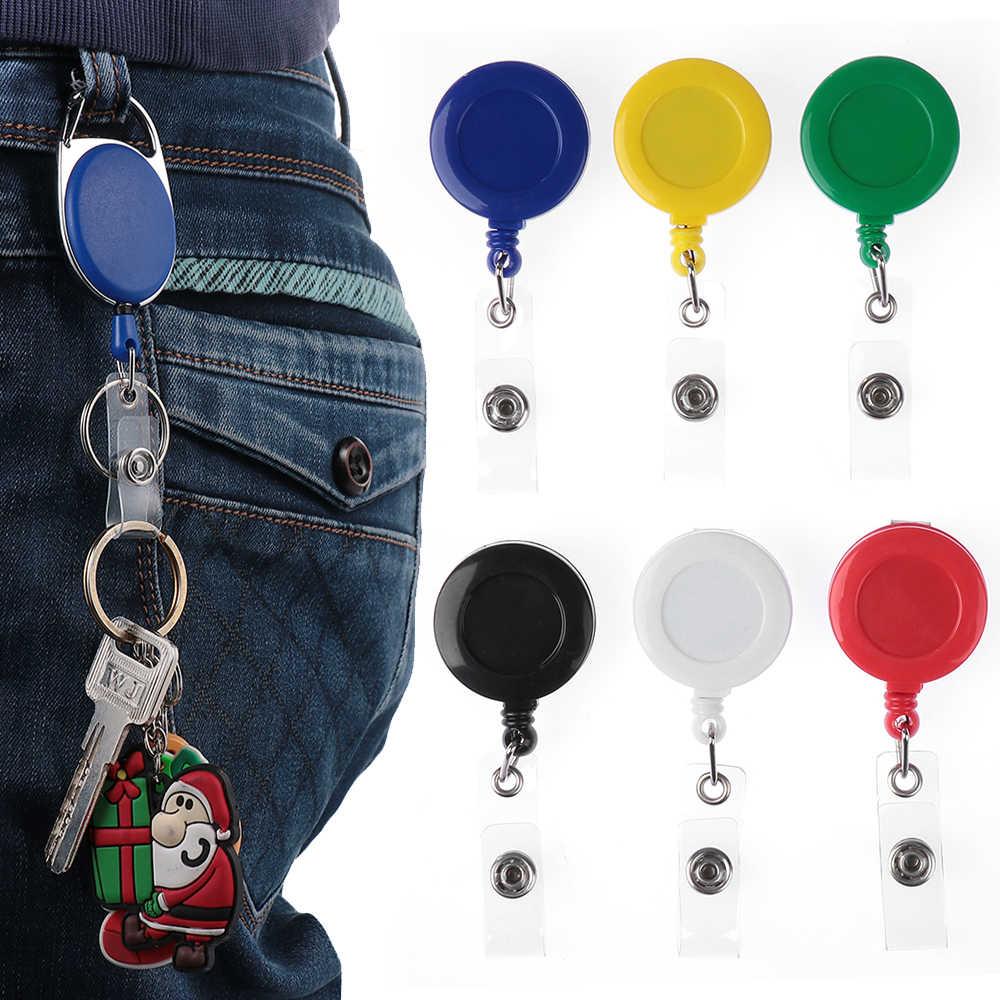 1 PC Unisex plakietka identyfikacyjna smycz nazwa Tag zwijacz Pull brelok torebeczka na klucze karty zaczep na pasek trwały klucz brelok do torebki łańcuch klip