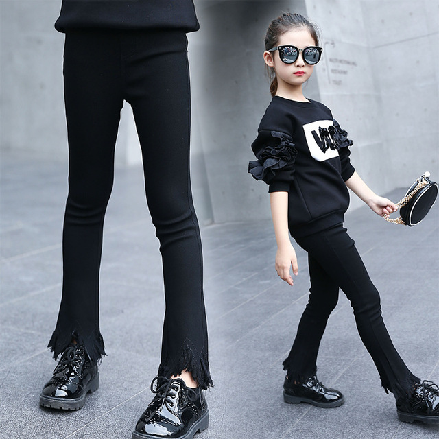 bf6bafcb3c4fd Children Tassel Pants girls ripped jeans baby kids flare leggings autumn  children's clothes spring girl cotton casual trousers
