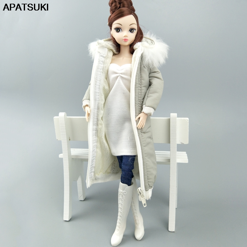 Gray Winter Wear Long Coat For Barbie Doll Clothes Dress Outfits Parka For 1/6 BJD Doll Jacket 1:6 Dolls Accessories Kids Toy
