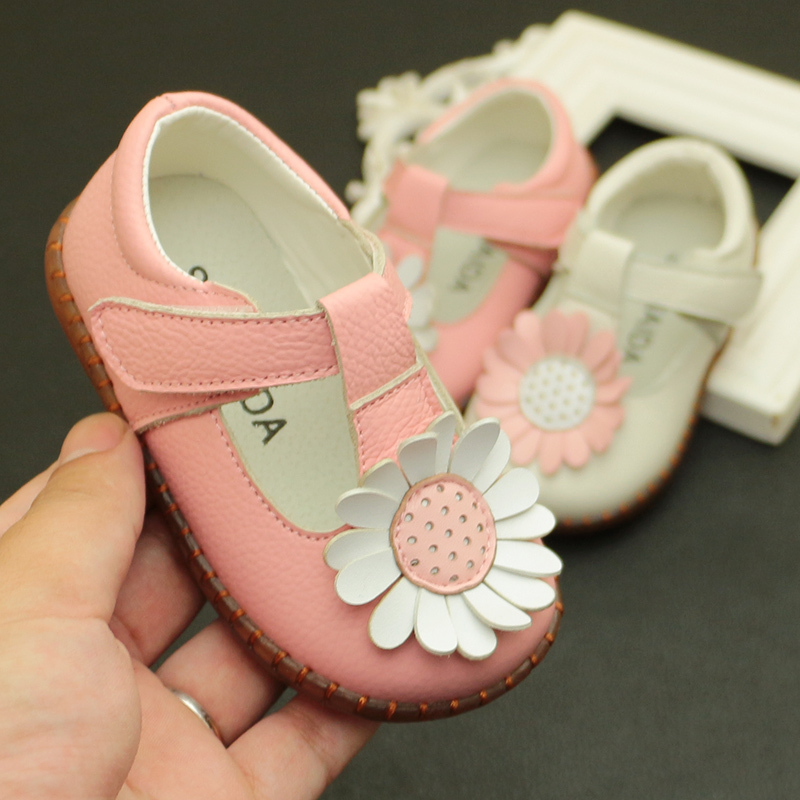 Baby Leather Shoes Flowers Baby  Soft Bottom Toddler Shoes Non-skid Infant Princess Shoes