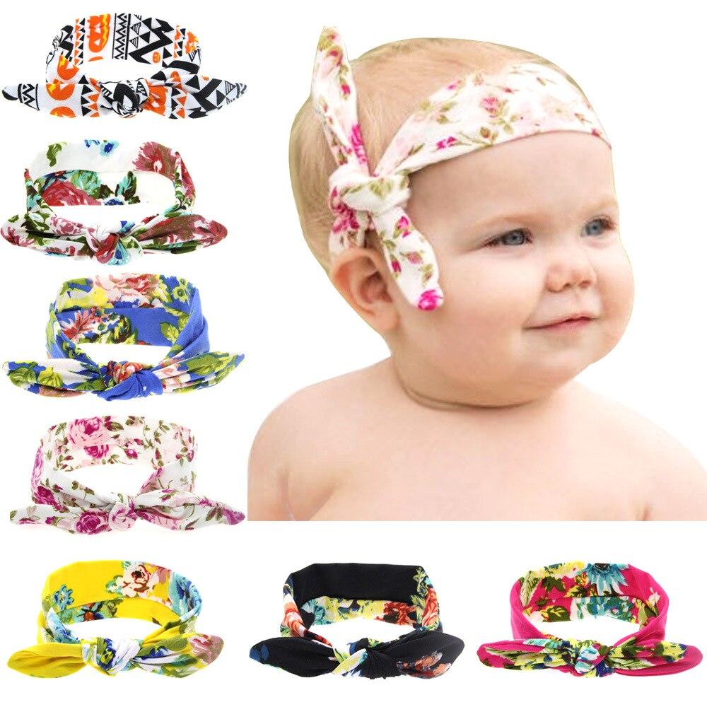Baby Flower Headband Toddler Soft Girl Kids Knotted headband baby hair accessories bronzing rabbit ears girls headwear