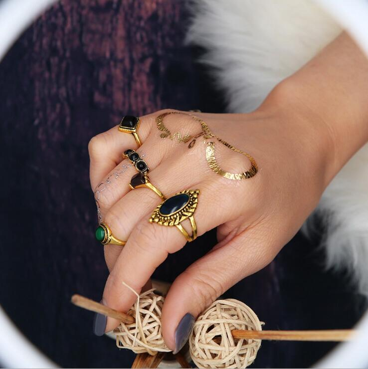 High Quality Vintage Punk 5PCS Ring Set Antique Gold-color Faux Stone Turkish Mid Finger Rings For Women Retro Set de anillos