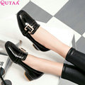 QUTAA 2017 Women Pumps Ladies Shoe Square Low Heel Pointed Toe Elegant PU Patent Leather Buckle Woman Wedding Shoes Size 34-43
