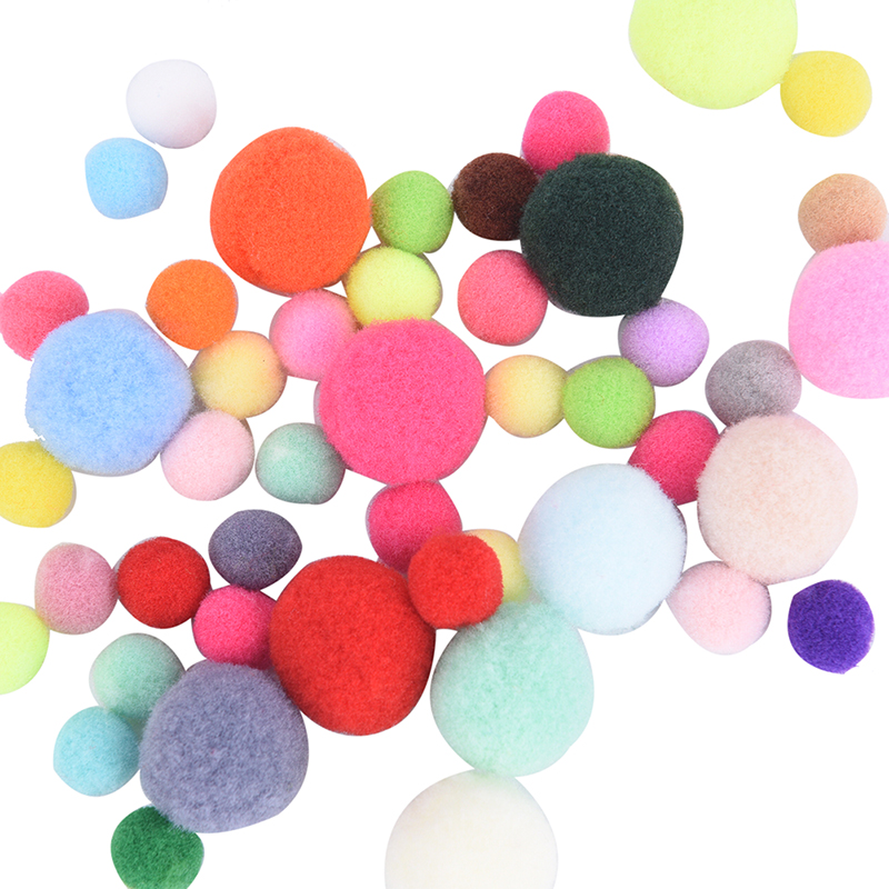 100Pcs 10/15/20mm DIY Soft Pompoms Balls Kids Toys Wedding Decoration Round Felt Balls Pom Poms Craft Sewing Accessories