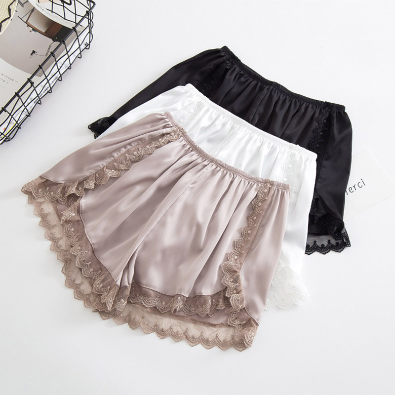 New Women Shorts Plus Size Loose Lace Sexy Shorts Fashion Casual Mid Waist Ice Silk Short Femme Black White Breathable Panties 1
