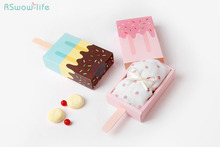 5pcs Candy Drawer Tray Lce Cream Shape Cute Gift Box Folding Pull-out For Wedding Birthday Party Reunion