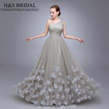HS11 Bayanlar Popüler Elbise A Hattı robe de soiree Bir omuz vestido de festa longo Çiçekler Balo Tül Uzun Nedime elbiseler