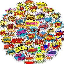 50 PCS Parole adesivi oops bang boom wow pow Graffiti Adesivi per il Computer Portatile di Skateboard Chitarra Frigo Decalcomanie Impermeabili