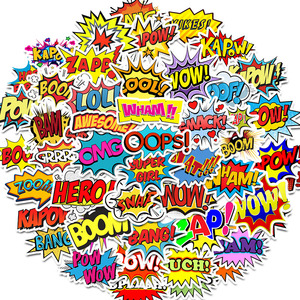 Image 1 - 50 PCS מילות מדבקות אופס מפץ בום וואו pow גרפיטי מדבקות מחשב נייד סקייטבורד גיטרה מקרר עמיד למים מדבקות