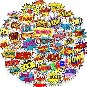Image 1 - 50 Uds. De pegatinas de palabras oops bang boom wow pow, pegatinas para ordenador portátil de grafiti, monopatín, guitarra, pegatinas impermeables para nevera