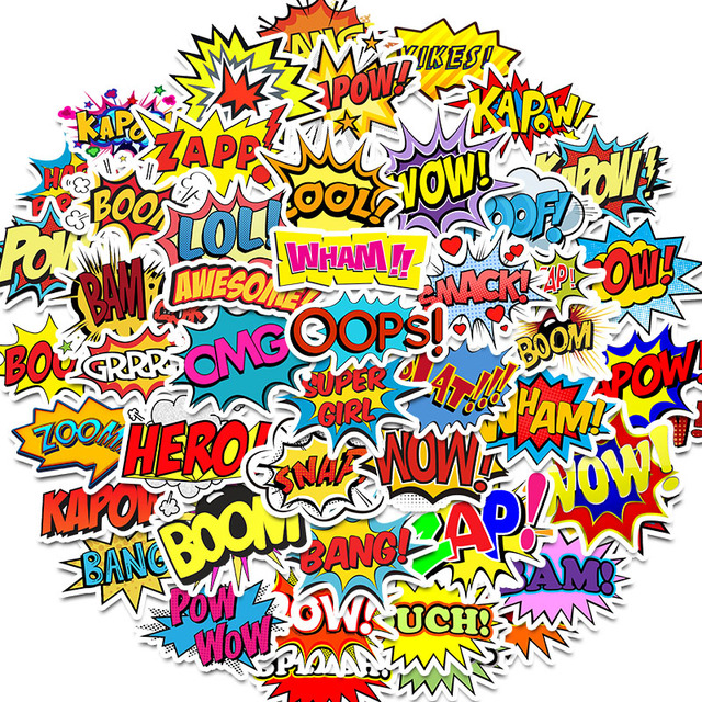 50 Uds. De pegatinas de palabras oops bang boom wow pow, pegatinas para ordenador portátil de grafiti, monopatín, guitarra, pegatinas impermeables para nevera