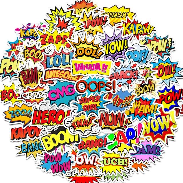 50 pièces Mots autocollants oups bang boom wow pow Graffiti Autocollants pour Ordinateur Portable Skateboard Réfrigérateur de Guitare Étanche Autocollants