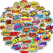 50 قطعة الكلمات الملصقات عفوا بانغ بوم wow pow الكتابة على الجدران ملصقات لأجهزة الكمبيوتر المحمول سكيت الغيتار الثلاجة الشارات مقاوم للماء
