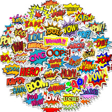 50PCS Words stickers oops bang boom wow pow Graffiti Stickers for Laptop Skateboard Guitar Fridge Waterproof Decals