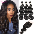 Peruvian Virgin Hair With Closure 3 Bundles Peruvian Virgin Hair Body Wave with Closure 8A Unprocessed Human Hair with Closure