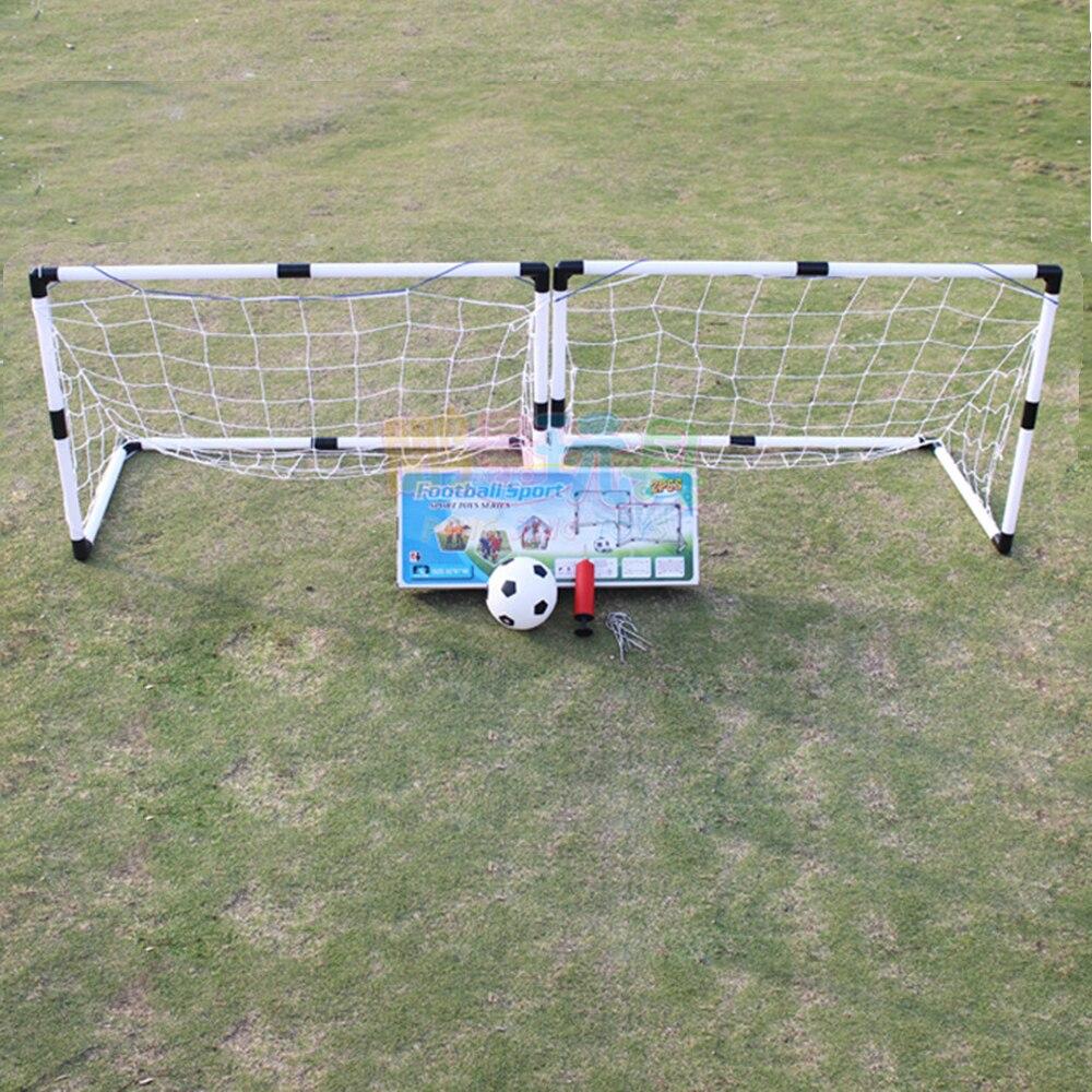2 Unids Mini Balon De Futbol Con Red De Poste Plegable Bomba Para