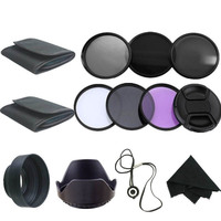 58MM UV CPL Polarizer ND2 4 8 Filter Kit Set Lens Hood Cap Cleaning Cloth For