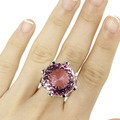 6.5# Big Gemstone 20mm Pink Kunzite SheCrown Woman's Gift Created Silver Ring 24x24mm