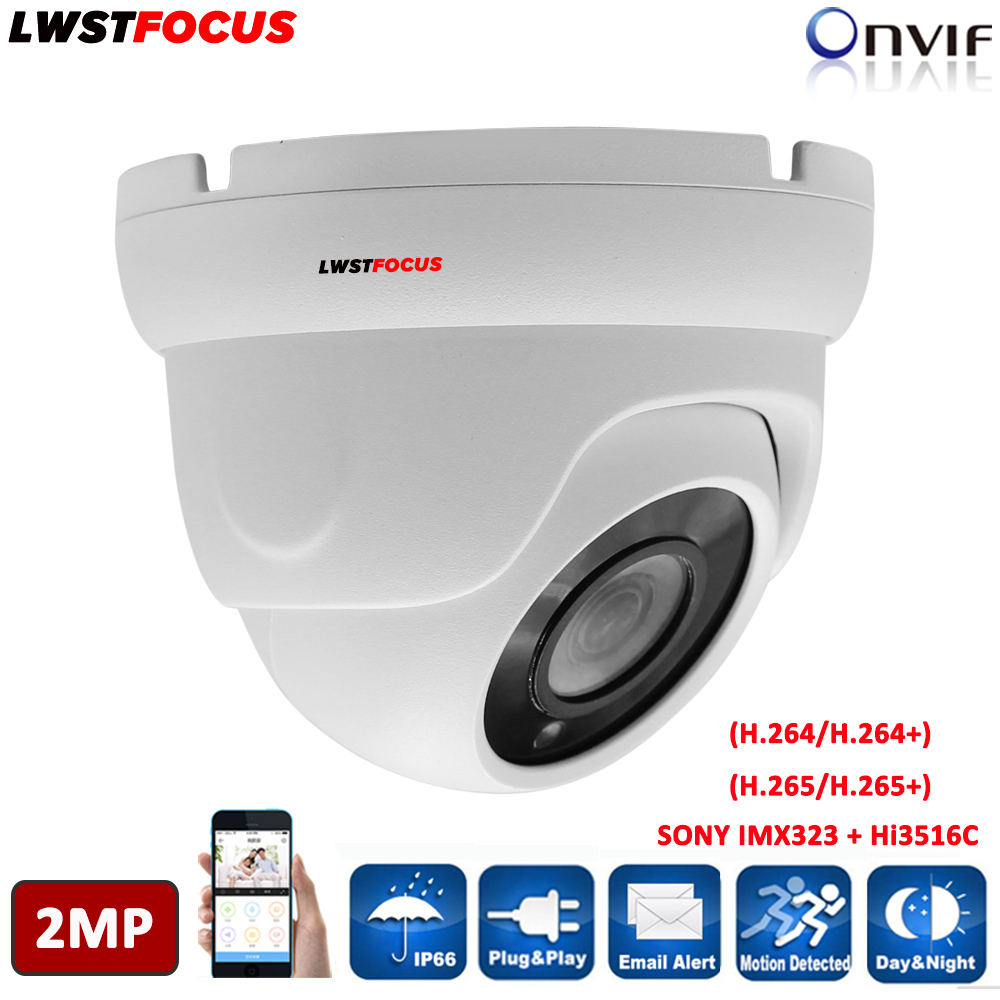 LWSTFOCUS H.264 H.265 CCTV IP Camera 1080P 2MP Network Dome Camera Built-in SD Card Slot 48V PoE IP 67 IR 30m ONVIF Max 128GB lwstfocus 4mp ip camera poe onvif outdoor ip66 hd 4mp h 265 sd card slot ir security cctv ip camera multi language network dome