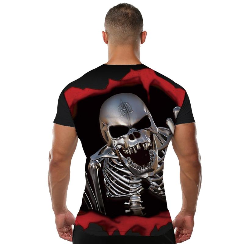 KYKU Marka Kafatası T Shirt Kan Giysi Komik Giyim Hip-Hop Tees 3D - Erkek Giyim - Fotoğraf 2