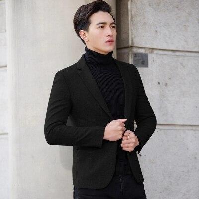 Nieuwe Mode Casual Mannen Blazer Wol Slim Fit Smart Stijl Pak Blazer Masculino Mannelijke Past Jasje Blazers Mannen M 4XL - 3