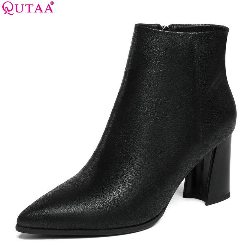 QUTAA 2019 Cow Leather +pu All Match Women Ankle Boots Platform Square High Heel Zipper Winter Boots Women Boots Big Size 34-43 qutaa 2019 winter boots women ankle boots all match platform zipper square high heel cow leather pu women boots big size 34 39
