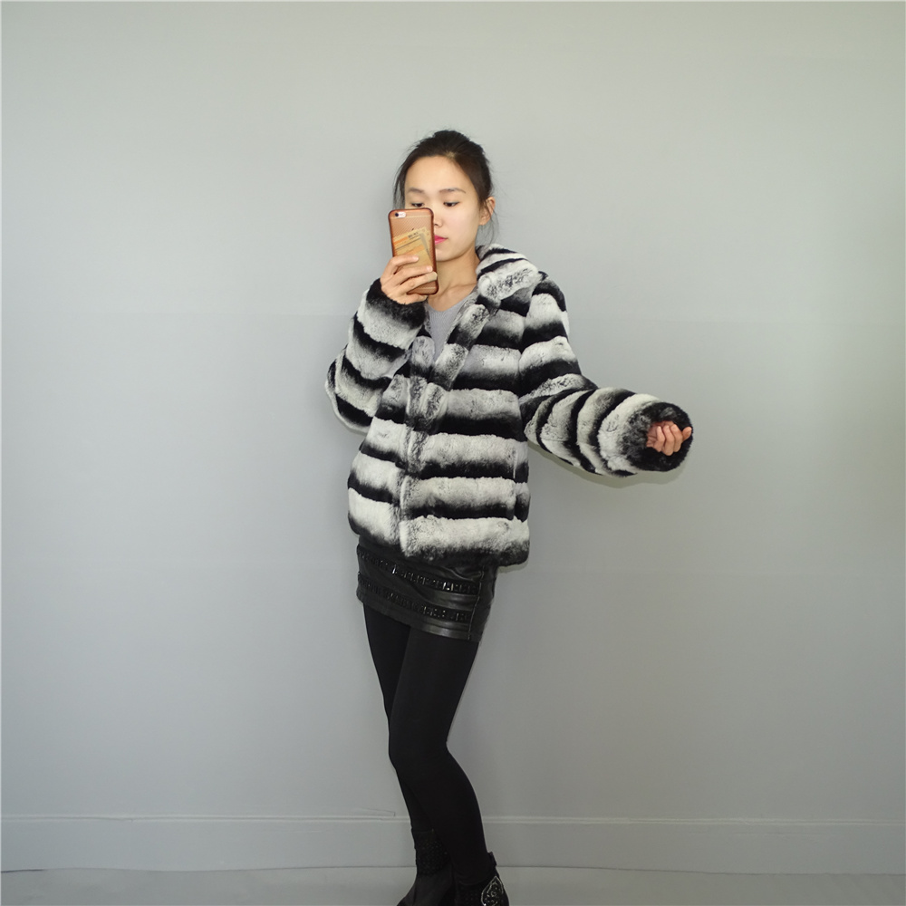 2017 new winter chinchilla Really rex Rabbit hair Womens fur coat Coat length 60cm Sleeve 60cm Large size