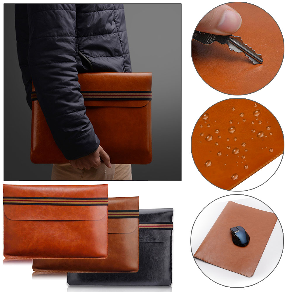 Universal <font><b>Leather</b></font> <font><b>Laptop</b></font> Bag <font><b>Sleeve</b></font> Case For MacBook Air Pro Retina 11 <font><b>13</b></font> 15 <font><b>inch</b></font> Notebook Carry Bag Pouch For Lenovo HP ASUS image