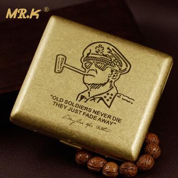 W stylu Vintage Douglas MacArthur mosiądz toczenia craft mężczyzna e papierosów sprawa 20 wysokiej jakości pudełka papierosów z pudełko na prezent tanie i dobre opinie MR K 001 Metal Brass rolling 88*80*16mm About 100g