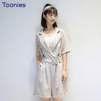 New Summer Fashion Solid Playsuits Elegant V Neck Sashes Elegant Loose Brief Short Sleeved Rompers Brand