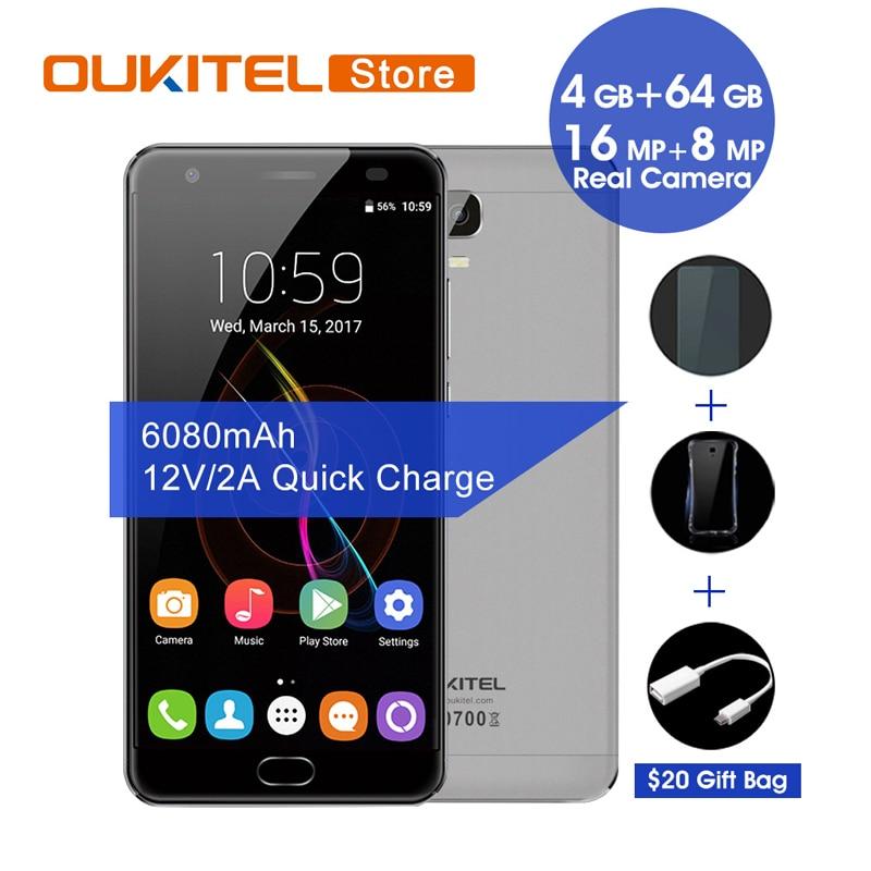 """bilder für Original Oukitel K6000 Plus Mobiltelefone Android 7.0 4 GB RAM 64 GB ROM 16.0MP 5,5 """"Fingerabdruck 12 V/2A Schnelle Lade Smartphone"""