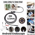 5.5mm Lens Mirco USB Android OTG USB Endoscope Camera Waterproof Pipe Android USB Borescope 720P Camera Snake Tube 1M 2M 3.5M 5M