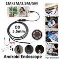 5.5mm Lente Mirco USB Android OTG USB Tubo Endoscópio Câmera À Prova D' Água Android USB Endoscópio 720 P Câmera Tubo Cobra 1 M 2 M 3.5 M 5 M