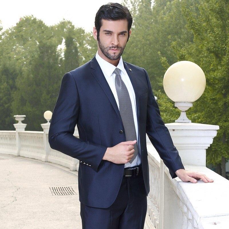 Twee Knoppen Bruidsjonkers Notch Revers Bruidegom Tuxedos Marineblauw Mens Suits Bruiloft Beste Man (Jas + Broek + Tie + gordel) B832