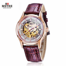 Luxury Men's Mechanical Watch Skeleton Military Sport Watch Men Gold Hollow Engraving Elegant Genuine Leather Strap Watches Xmas