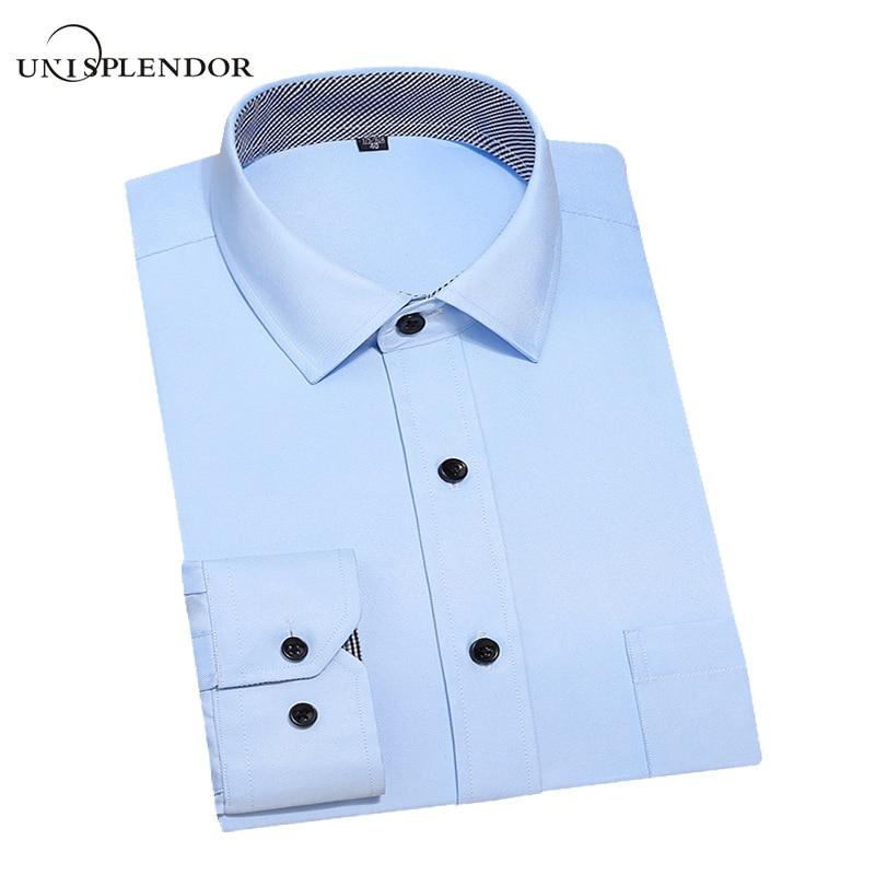 13 Colors Men Long Sleeve Dress Shirts 2017 Spring New Slim Fit Man Business Wear Shirt