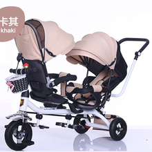 цена на The Children Tricycle Twin Baby Cart Double Bicycle Light Baby Stroller 3 Wheel Tricycle  Baby Bike