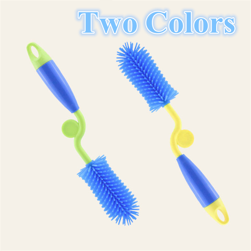 Baby Bottle Brush Silicone Plastic Tool Kitchen Cleaner Bottle Cup Brush Creative 360 Degree For Mommy High-density Bristles