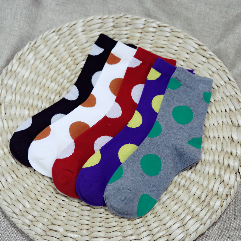 Clearance! Autumn New Women In Tube Sock Big Points Women Socks Cotton EUR35-40