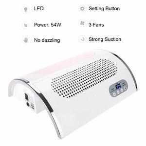 Image 3 - 3 in 1 전기 네일 드릴 머신 54W 먼지 흡입 콜렉터 네일 진공 청소기 LED 라이트 네일 Mainicure 페디큐어 도구