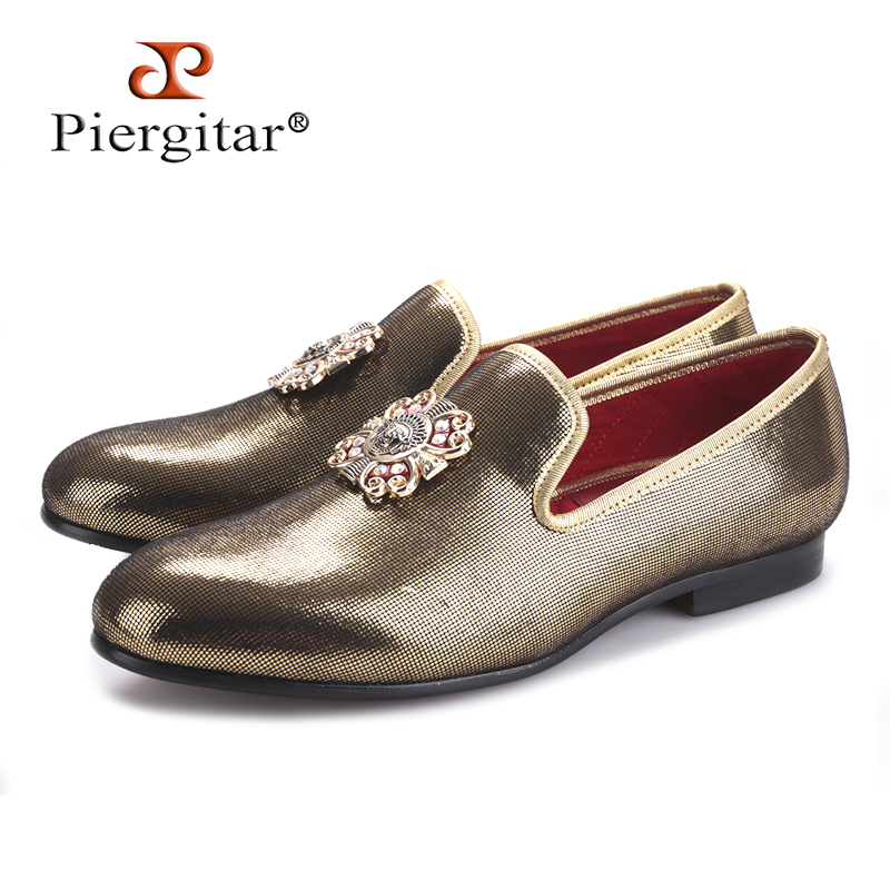 PIERGITAR 2018 new handmade men gold PU shoes with gold cross Charm Plus size men s